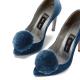 Salón pompón clip azul terciopelo